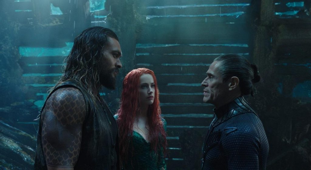 Jason Momoa, Amber Heard y Willem Dafoe en Aquaman